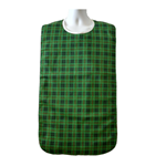"18"" x 35"" Adult Bib Green Checkered Plaid, Waterproof Vinyl Back Barrier and Snap Closure"