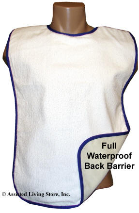 Terry Cloth Adult Bib Full Waterproof Back Barrier
