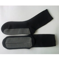 Black Calf Height Non Slip Socks