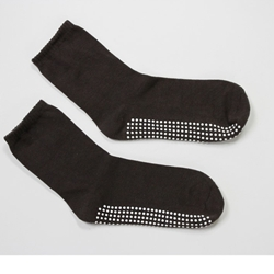 Brown Calf Height Non Slip Socks