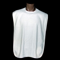 100% White Cotton Terry Cloth Adult Bibs (Per Dozen)
