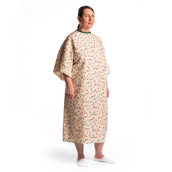 10XL Bariatric Oversized Patient Gown Pale Yellow with geometric patterns