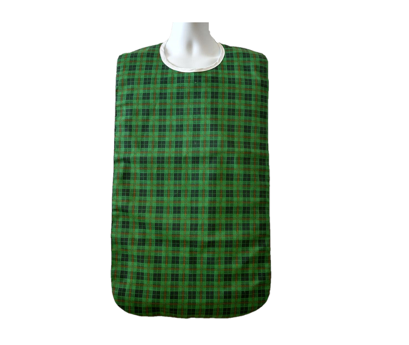 Front View of the Terra Green Checkered Adult Bib with Waterproof Back and snaps
