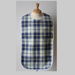 Front View of the Regal Blue Yellow Flannel Long Adult Bib