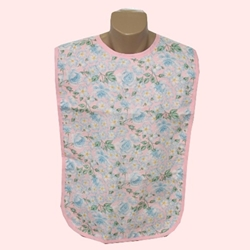 Adult Bib Garden Print Floral Waterproof Back Barrier (each)