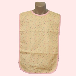 Adult Bib Peach Pink Floral Waterproof Back Barrier (each)