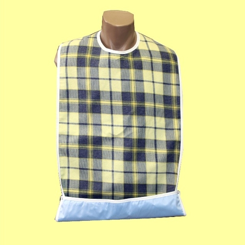 Adult Bib Snaps Crumb Catcher with Waterproof Back Barrier (each)
