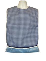 Blue and White Adult Bib Snaps Crumb Catcher with Waterproof Back Barrier