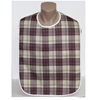 Front View of the Timber Brown Plaid Adult Bib with Waterproof Back Barrier