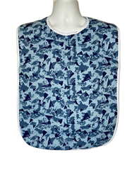 Front View of Blue Forest Adult Bib with Waterproof Vinyl Back Barrier