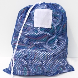 "Blue Mesh Net Draw String Laundry Bags 24"" x 36"""