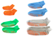 Horizontal view of our four trampoline socks, sizes extra small, small, medium and large
