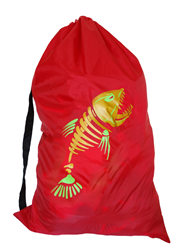 Sample of a red laundry bag with gold fish print