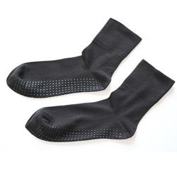 Deluxe Black High Cuff Non Slip Socks (per pair)