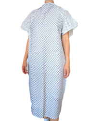 White Economy Hospital Gown with black flower pattern