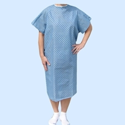Economy Straight Tie Back Patient Gown Blue with White Flower Pattern