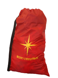 "Printed Merry Christmas Red Laundry Bag with Carry Strap 30""x40"""