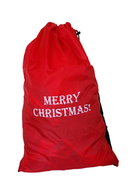 "Sample of a red polyester bag with white print saying ""Merry Christmas"""