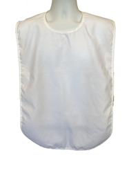 "Front View of our Plain White Washable Adult Bib 18"" x 30"""
