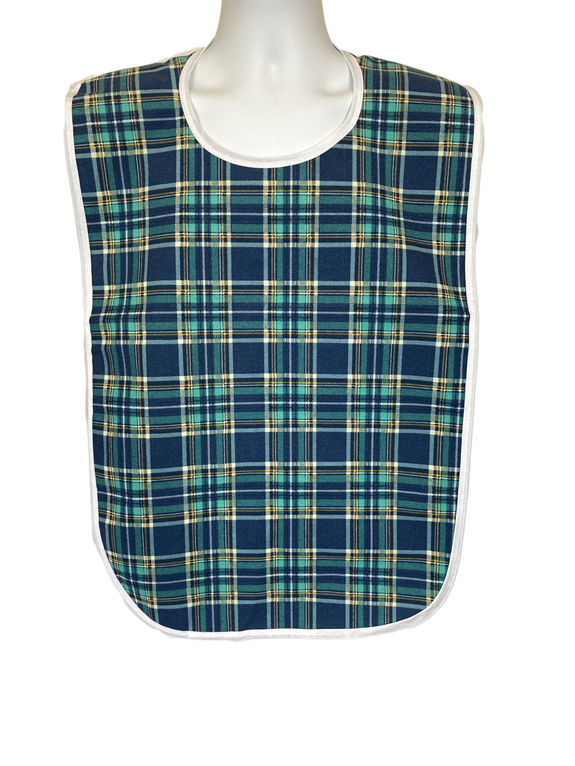 Front View of Sinclair Blue Green Adult Bib with String Ties and Waterproof Vinyl Back Barrier