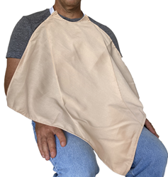 Tan Napkin Adult Bib Spun Polyester Waterproof Back Worn by a Seated Male Model