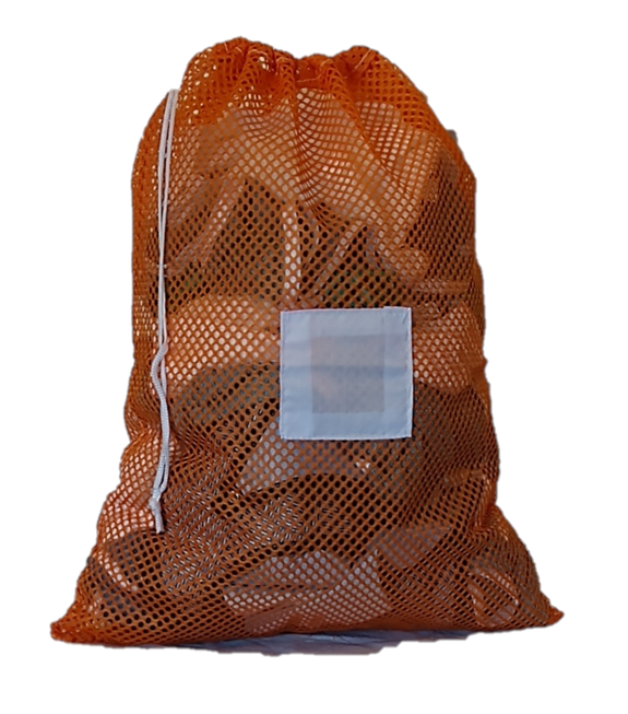 Medium Orange Mesh Net Laundry Bag with Drawstring and Toggle and Sewn in ID Tag in the Front Center